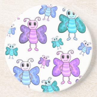 Blaue und lila niedliche Schmetterlinge Untersetzer