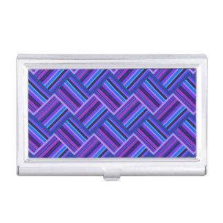 Blaue und lila Streifenwebart Visitenkarten-Behälter