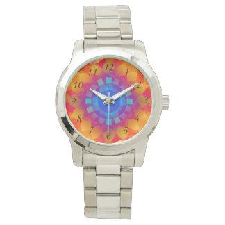 Blaue und orange Sonnemusterarmbanduhr Uhr