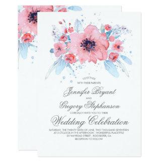 Blaue und rosa Aquarell-Blumenhochzeit Karte