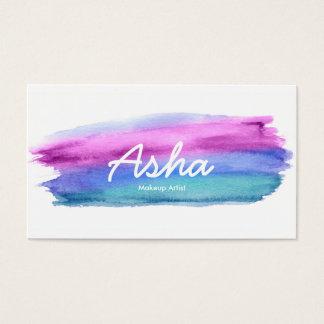 Blaue und rosa Aquarell-Visitenkarten Visitenkarte