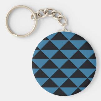 Blaue und schwarze Dreiecke Standard Runder Schlüsselanhänger