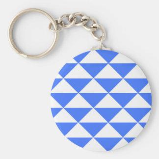 Blaue und weiße Dreiecke Standard Runder Schlüsselanhänger
