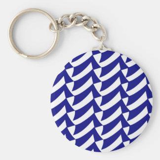Blaue und weiße Karos Schlüsselanhänger