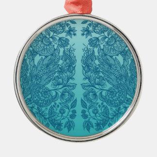 Blaue Verzierungen Rundes Silberfarbenes Ornament
