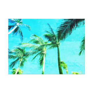 Blaue Vintage Palmen Leinwanddruck