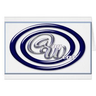 BLAUE w-blaue Glasringe des @ny Abnutzungs-Logos Karte