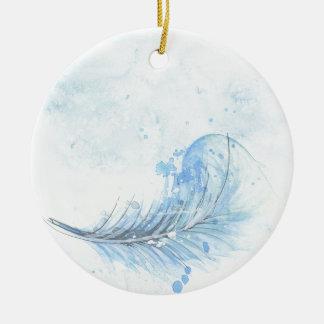Blaue Wasserfarbe-Feder Rundes Keramik Ornament
