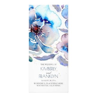 Blaue Watercolor-Blumen Boho Hochzeits-Programme Werbekarte