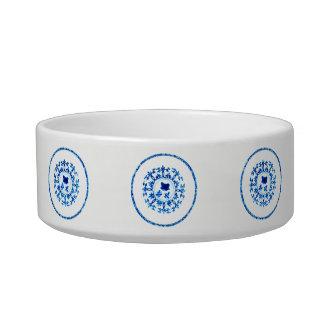 Blaue weiße Haustier-Schüssel Napf