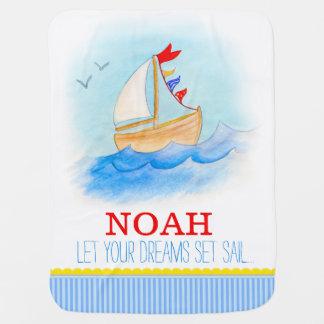 Blaue weiße Jungen des Segelbootes nennen Babydecken