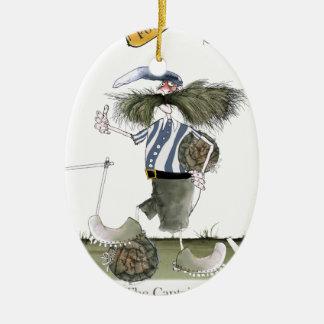 blaue weiße Streifen Fußballkapitäns Keramik Ornament