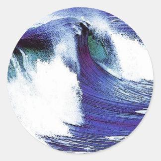 Blaue Welle Runder Aufkleber