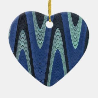 blaue Wellen Keramik Herz-Ornament