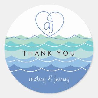 Blaue Wellen-verworrenes Herz danken Ihnen Runder Aufkleber