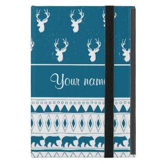 Blaue Winter-Rotwild-Stammes- aztekisches Muster iPad Mini Hüllen