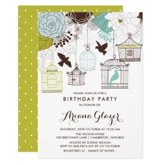 Blaue wunderliche Birdcages-Geburtstags-Party 12,7 X 17,8 Cm Einladungskarte