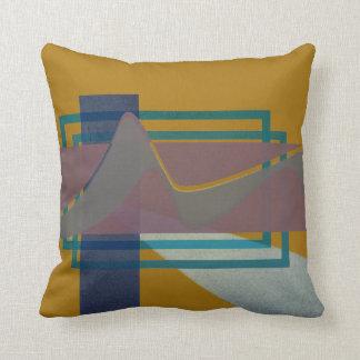blauer abstrakter Berg auf Senf Kissen