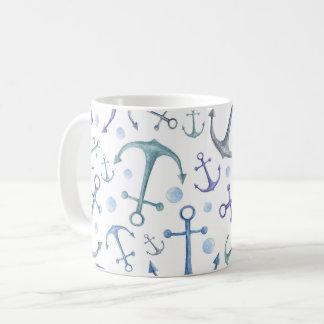 Blauer Anker. Aquarell nautisch. Wasser. Seemann Kaffeetasse