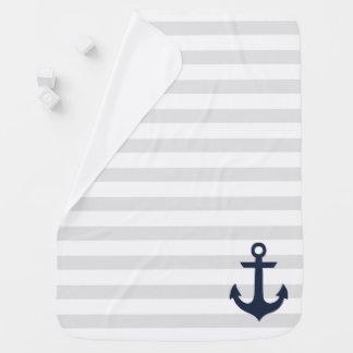 Blauer Anker auf grauen Streifen Baby-Decken