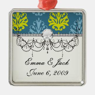 Blauer aquamariner Damast des Chartreuse Schiefers Silbernes Ornament