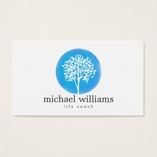 Blauer Aquarell-Baum-Leben-Trainer, Ratgeber Visitenkarten