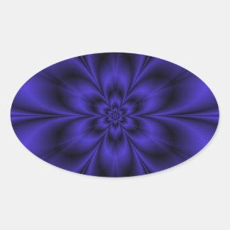 Blauer Blumen-Loch-Oval-Aufkleber Ovaler Aufkleber