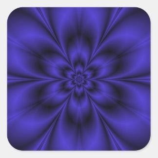 Blauer Blumen-Quadrat-Aufkleber Quadratischer Aufkleber