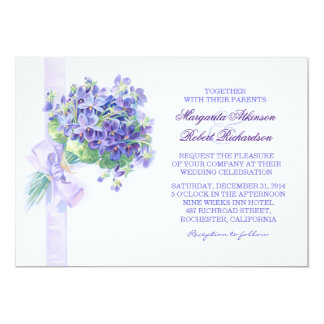 Blauer Blumenstrauß-elegante Frühlings-Hochzeit Karte