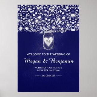 Blauer BlumenWeckglas-Hochzeits-Willkommensschild Poster