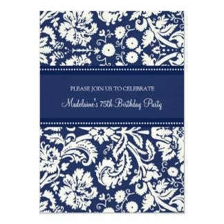 Blauer Damast-75. Geburtstags-Party Einladungen