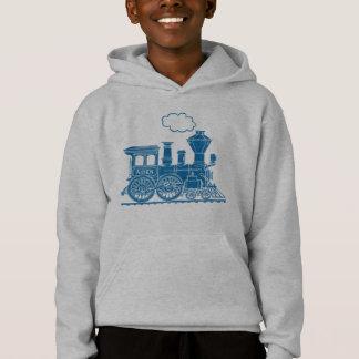 Blauer Dampflokomotivzug Ihr Namensjungen Hoodie