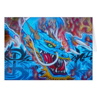 Blauer Drache Grußkarte