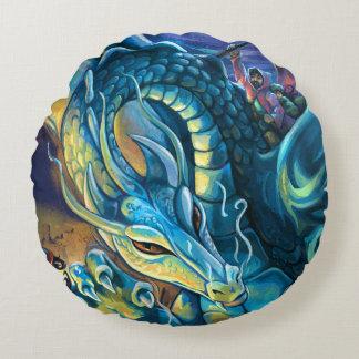 Blauer Drache-Reiter Rundes Kissen