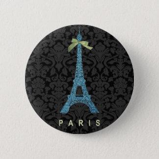 Blauer Eiffel-Turm im Imitat-Glitter Runder Button 5,7 Cm