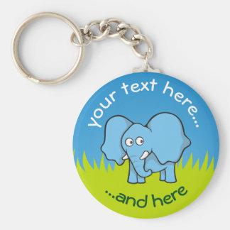 Blauer Elefant-Cartoon Schlüsselanhänger