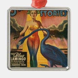 Blauer Flamingo Silbernes Ornament