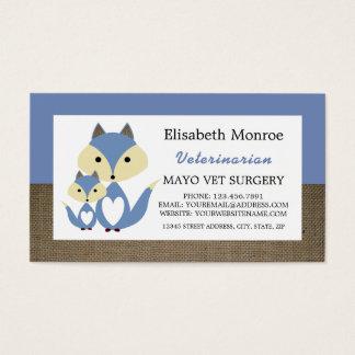 Blauer Fox-Leinwand, Tierarzt, Veterinär Visitenkarte