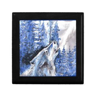 Blauer Frost-Wolf-Winter-Wolf-Kälte-Atem Erinnerungskiste