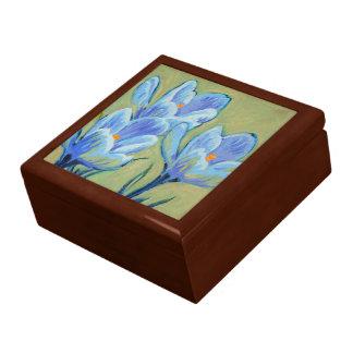 Blauer Frühlings-Krokus Große Quadratische Schatulle