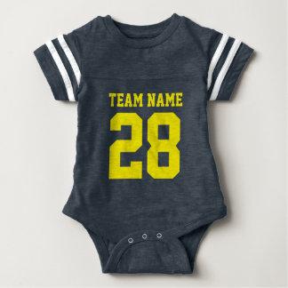 Blauer gelber Baby-Fußball Jersey trägt Spielanzug Babybody
