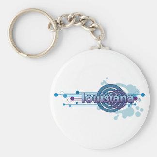 Blauer grafischer Kreis Louisiana Keychain Schlüsselanhänger