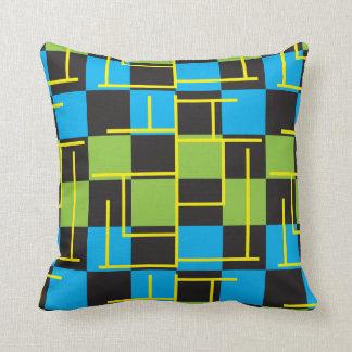 Blauer, grüner und gelber abstrakter Entwurf Kissen