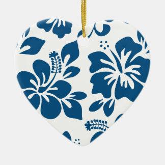 Blauer hawaiischer Hibiskus Keramik Herz-Ornament