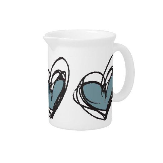 Blauer Herz-Krug modisch u. elegant Getränke Pitcher