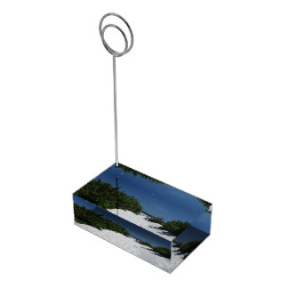 Blauer Himmel ~ weißer Sand-Kartenhalter Platzkartenhalter