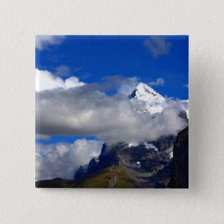 Blauer Himmelsnowy-Berg Quadratischer Button 5,1 Cm