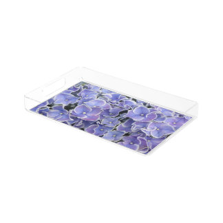 Blauer Hydrangea mit weißem Acryl Tablett