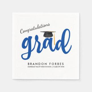 Blauer Jungen-Glückwunsch-Absolvent-Klasse von Papierserviette