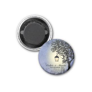 Blauer Laternen-Straßenbeleuchtungs-Save the Date Runder Magnet 3,2 Cm